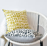 "The Alphabet - chartreuse - 18""x18"" pillow case - sale"