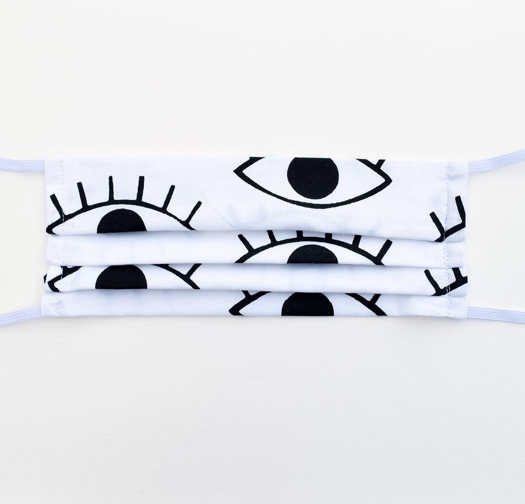 Adult Mask - Eyes Black + White, elastic