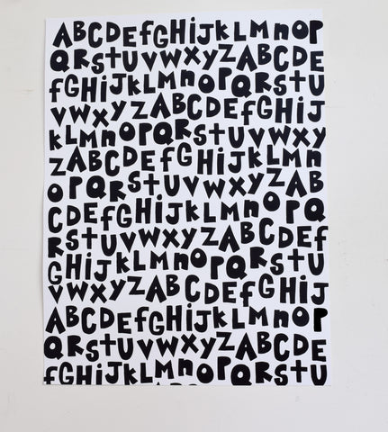 All of the Alphabet - black and white screen print, recycled paper, 18x24