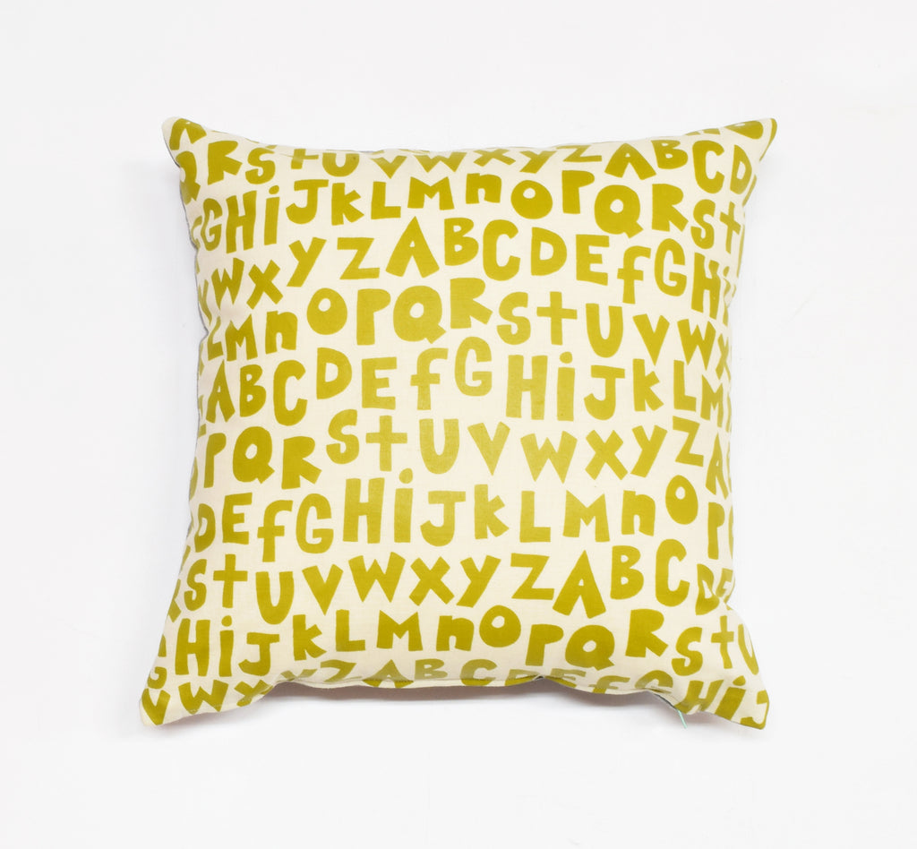 The Alphabet - organic, hand printed pillow, chartreuse