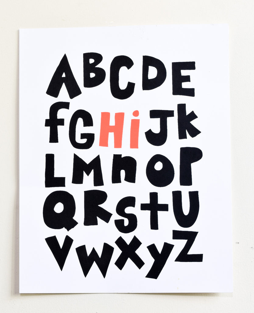 Hi From the Alphabet - screen print on recycled paper, black and coral, 11x14