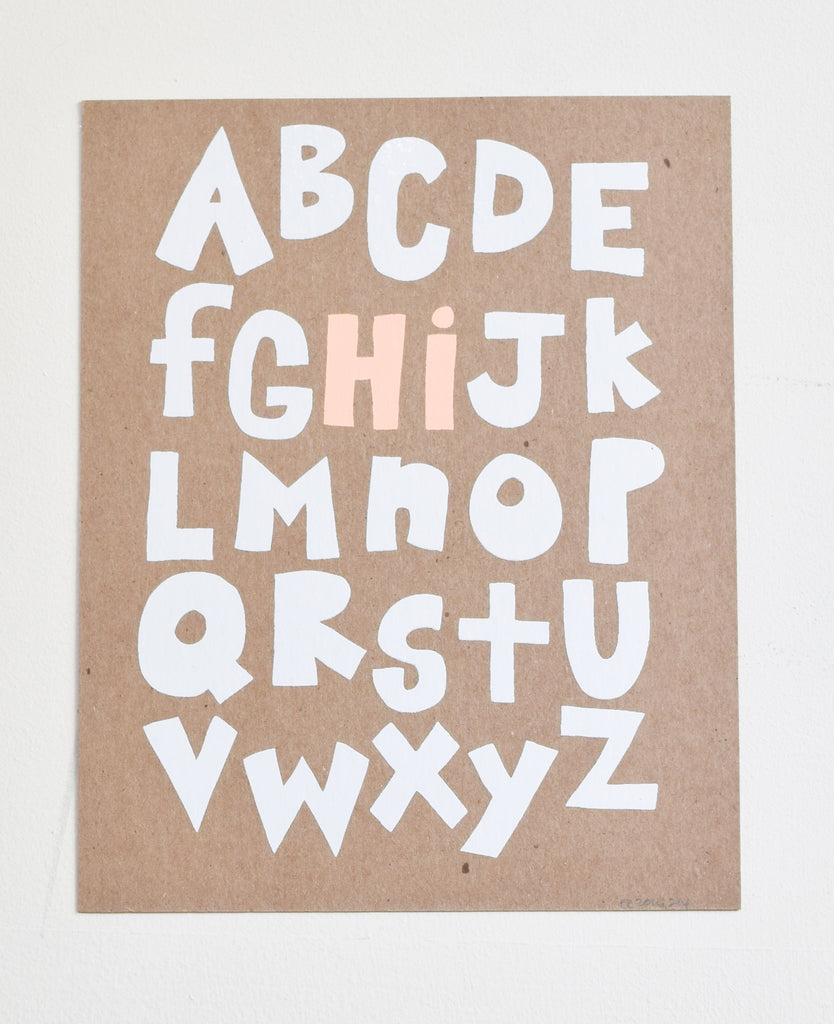 Hi From the Alphabet - screen print on recycled kraft, peach and white, 8x10