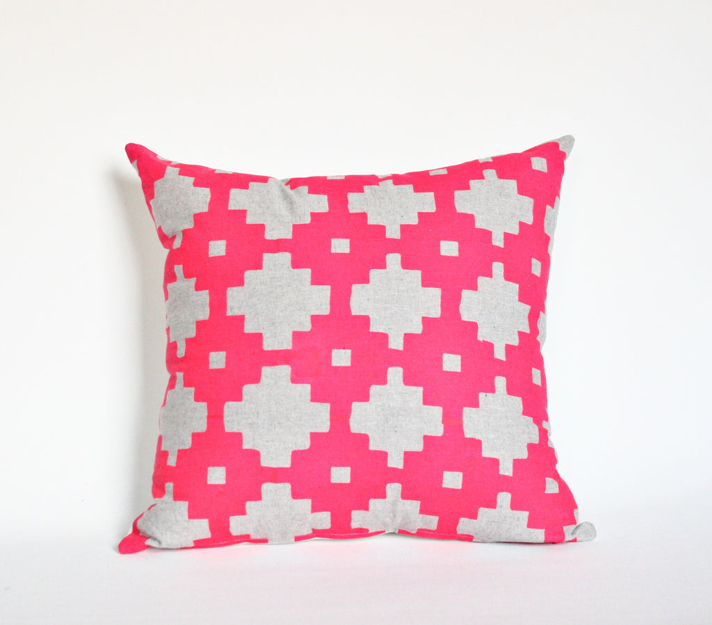 Stacks on Stacks - organic hand printed, geometric pattern pillow