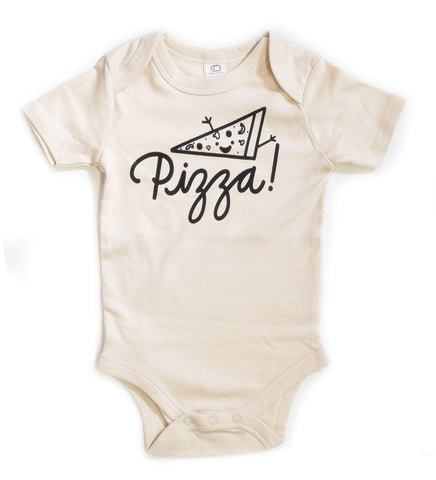 Pizza - handprinted, organic baby bodysuit
