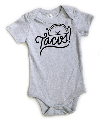 Tacos! - handprinted, taco, organic, baby bodysuit
