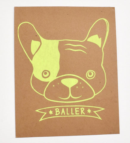 Baller - kids hand printed puppy dog shirt