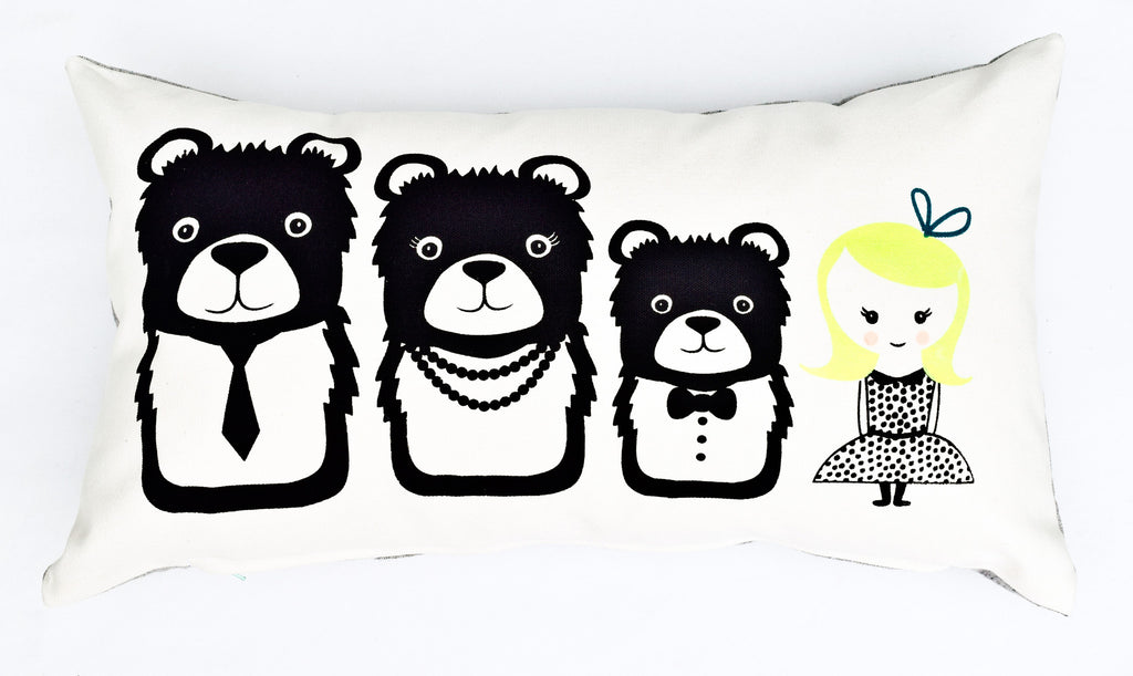 Goldie and The Bears - handprinted organic pillow