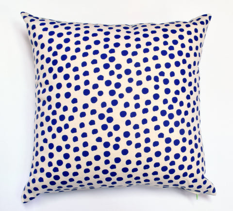Polka Dot - cobalt blue + ivory - pillow case