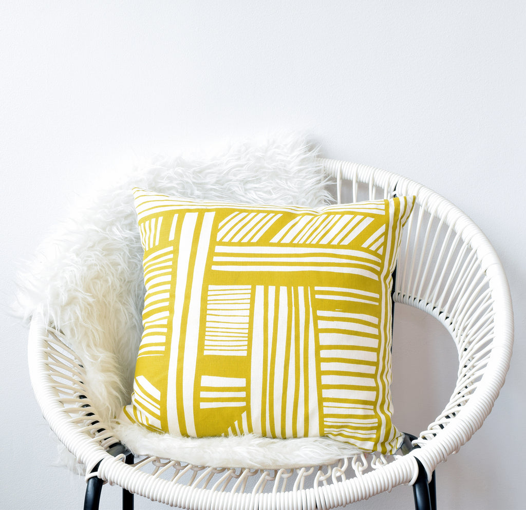 A Maze - chartreuse - pillow case