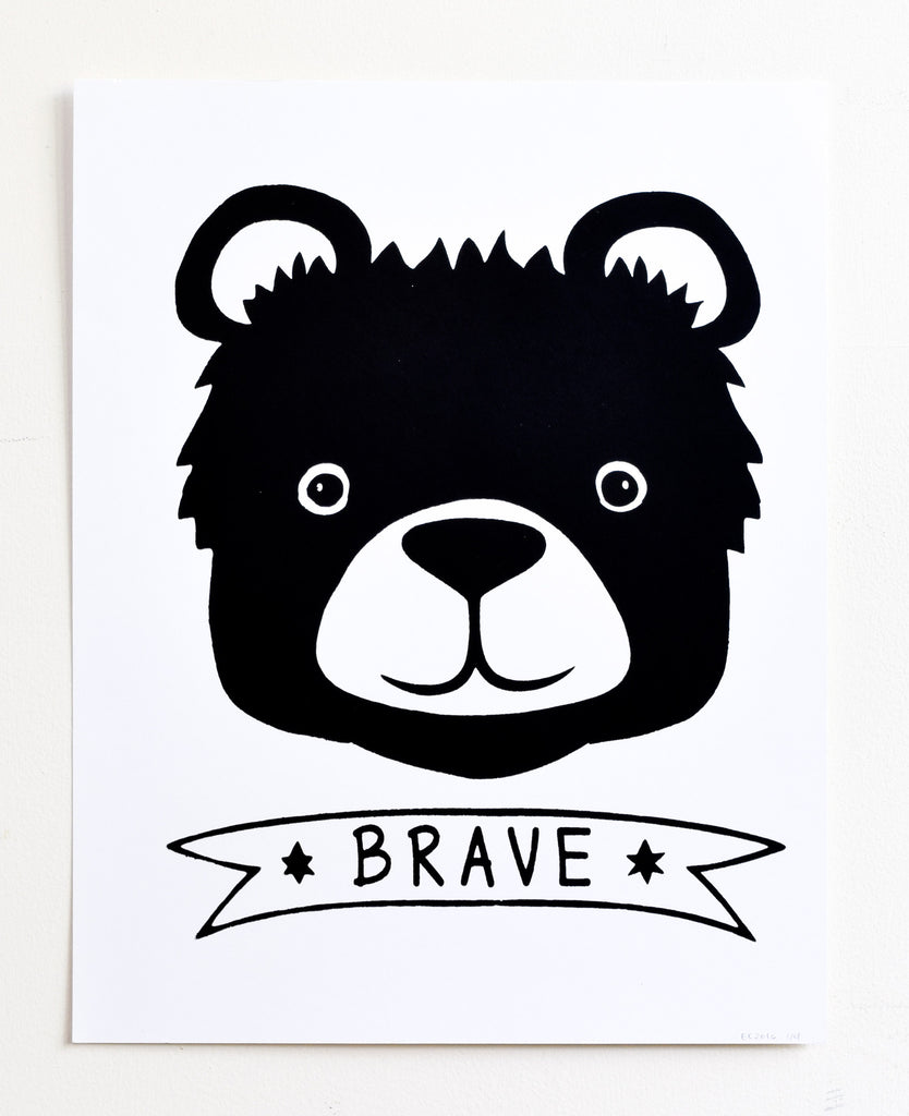 Brave - black bear screen print on recycled paper, 11x14