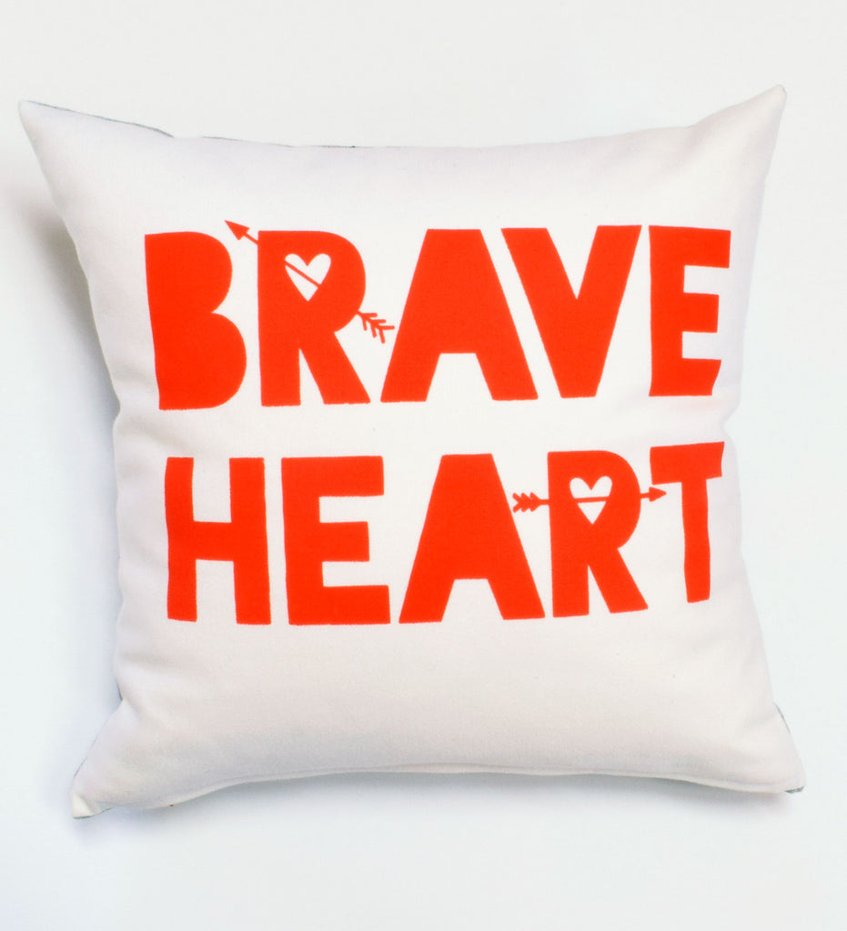 "Brave Heart -hand printed, organic pillow, 14""x14 - sale"
