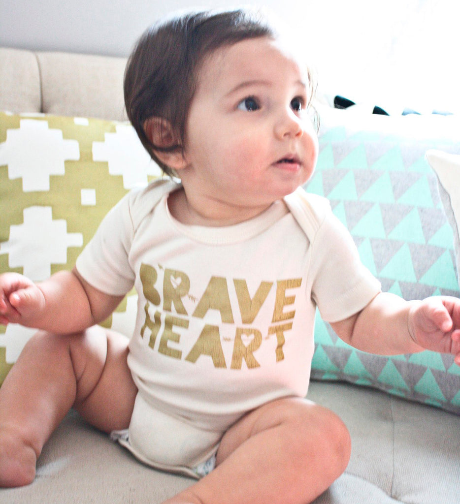 Brave Heart - gold, hand printed, organic baby bodysuit