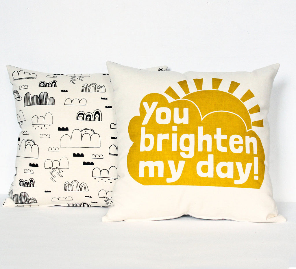 You Brighten My Day - chartreuse - pillow case
