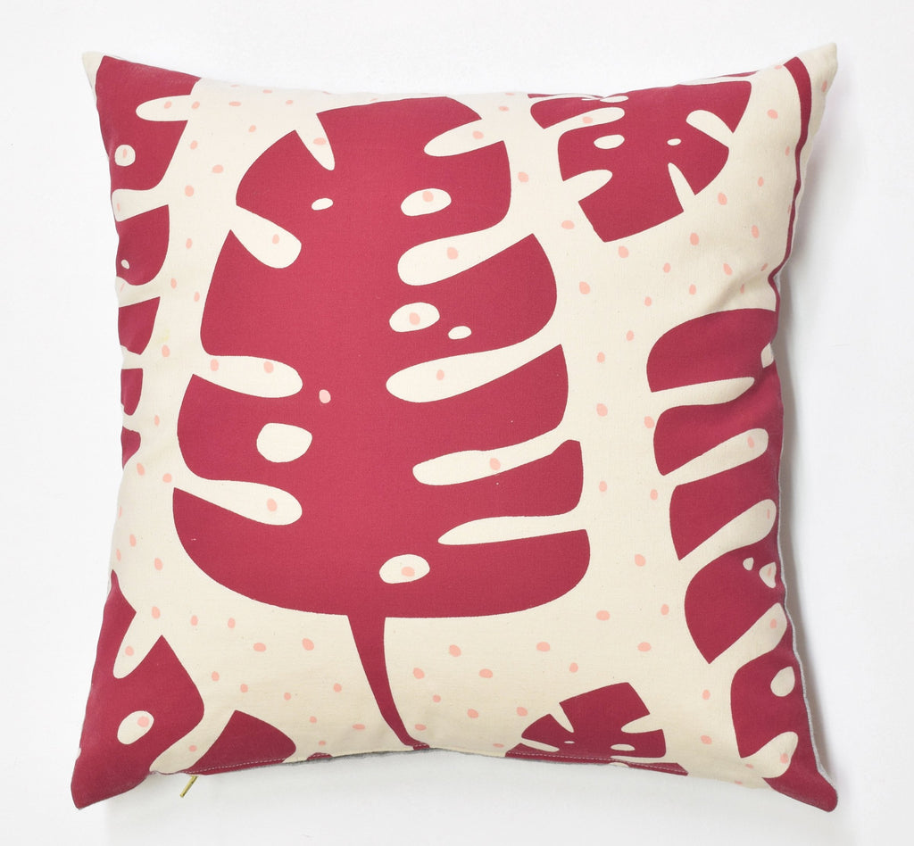 Palms - cranberry - pillow case