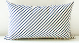 Yipes Stripes - imperfect stripe, organic, hand printed lumbar pillow 12x20