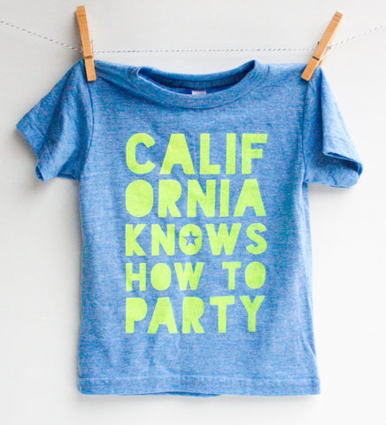 California Knows - kids hand printed party shirt