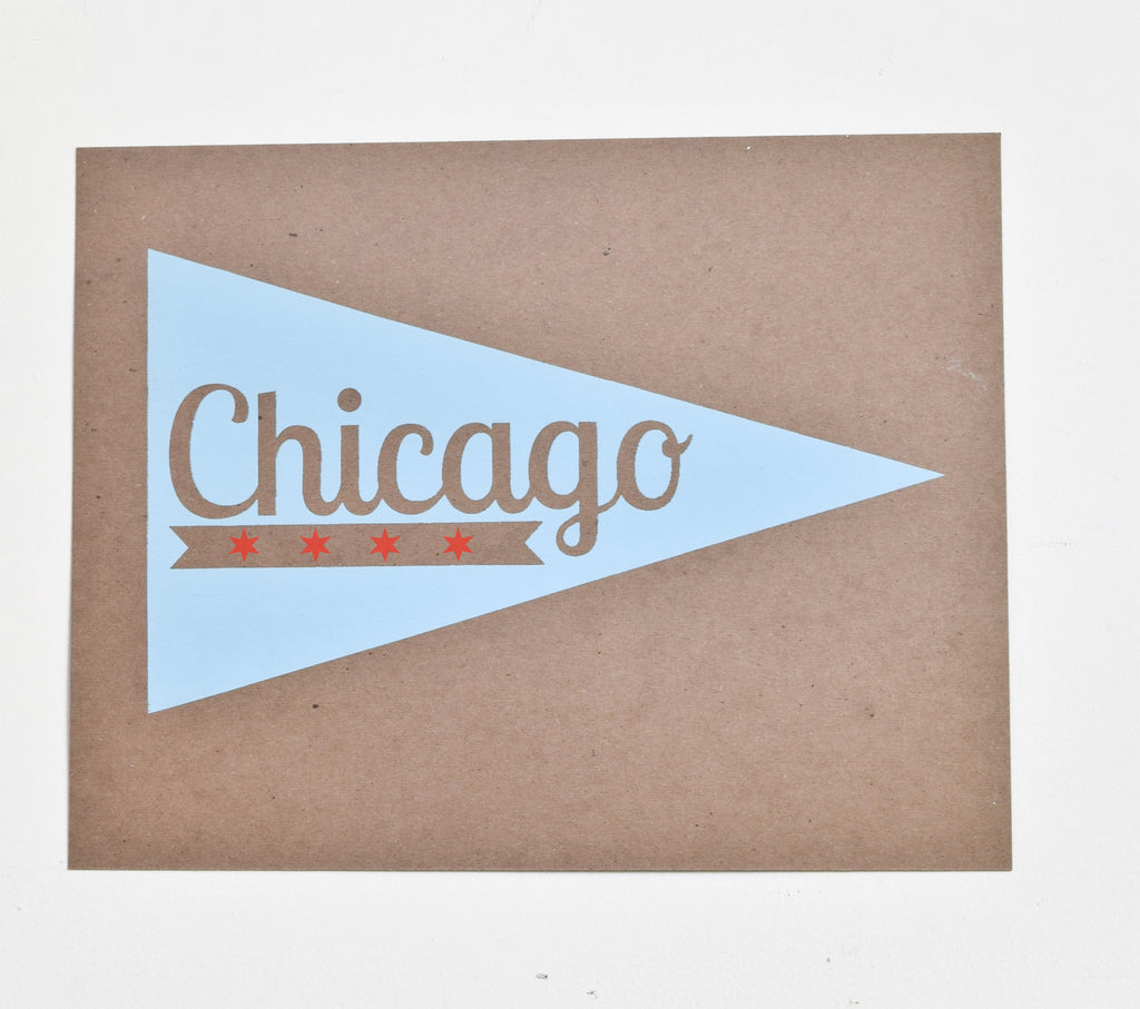 Chicago Pennant - screen print on recycled kraft, 11x14