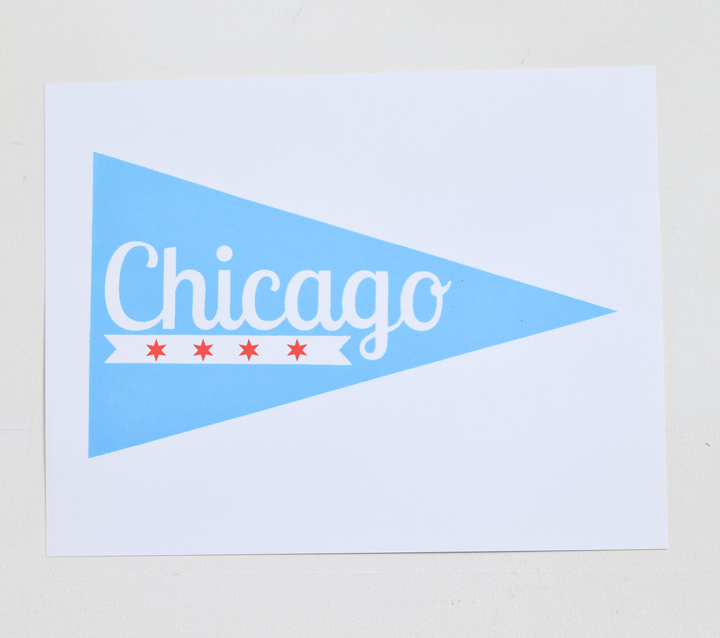 Chicago Pennant - screen print on recycled paper, 11x14