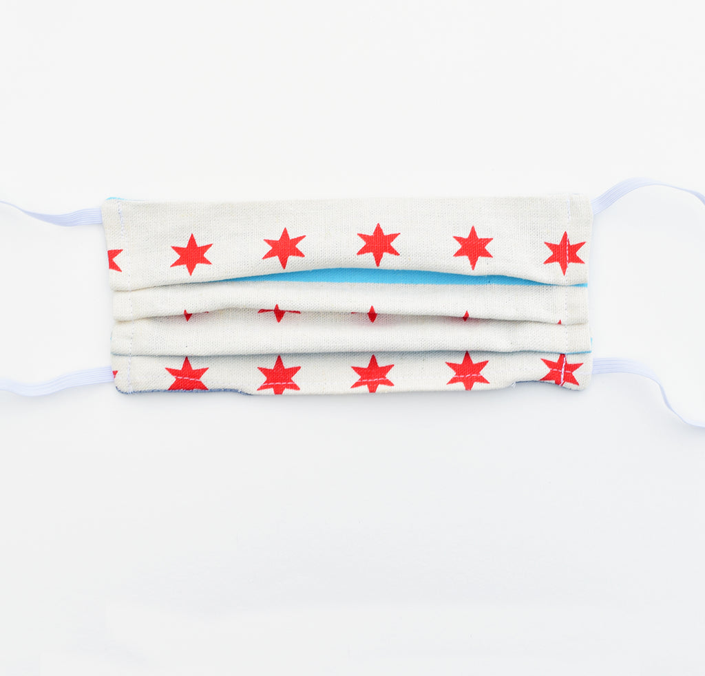 Adult Mask - Chicago Flag, elastic, reversible, adjustable