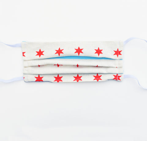 Adult Mask - Chicago Flag, elastic, reversible