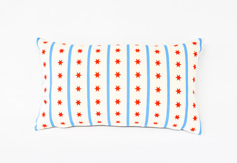 Chicago Flag - hand printed organic pillow, lumbar and square options