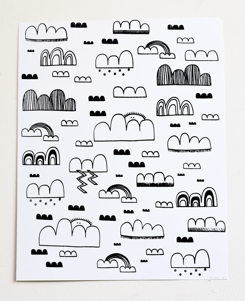 Cloud Sweeper -  black and white screen print on recycled paper, 11x14