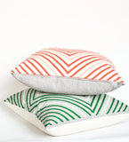 It's Concentric! - kelley green and mint organic hand printed, diamond repeat pattern pillow 18x18