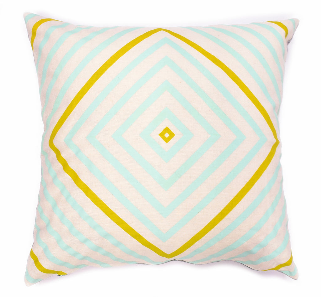 "It's Concentric - chartreuse and mint - 18""x18"" pillow - sale"