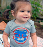 Baseball Bear - handprinted, organic baby bodysuit