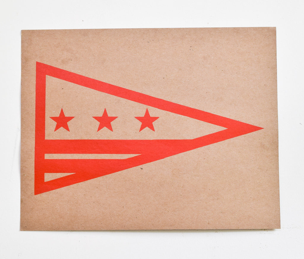 D.C. Flag - red screen print on recycled kraft, 11x14