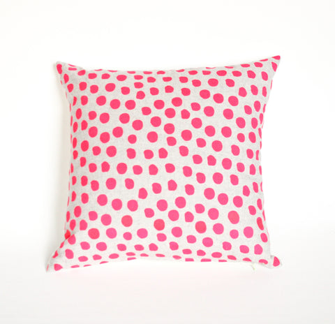 Polka Dot -sale - 18x18, hot pink, hand printed, repeat pattern organic pillow, sale!