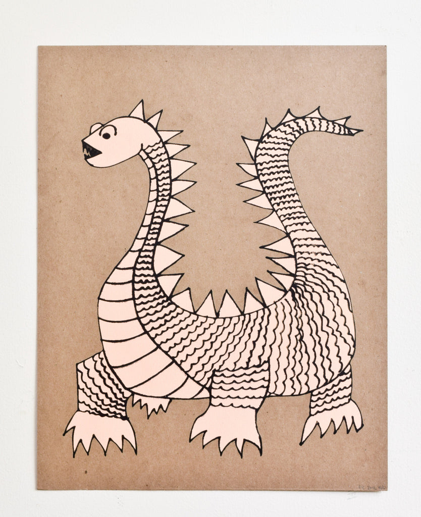 Elliot- dragon screen print on recycled kraft, peach and black, 11x14