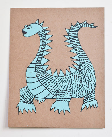 Elliot- dragon screen print on recycled kraft, turquoise and black, 11x14