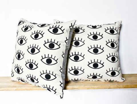 I Only Have Eyes For You - organic, hand printed pillow