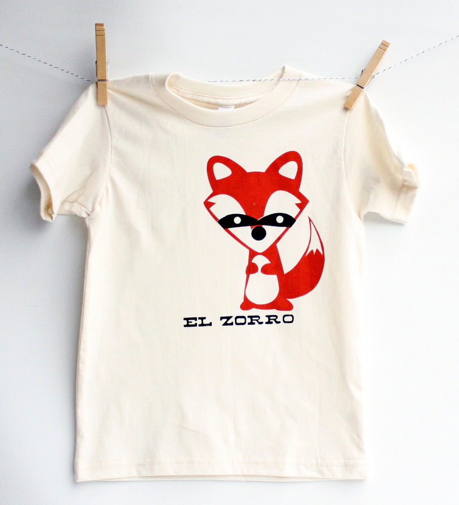 El Zorro - kid's hand printed, fox t-shirt