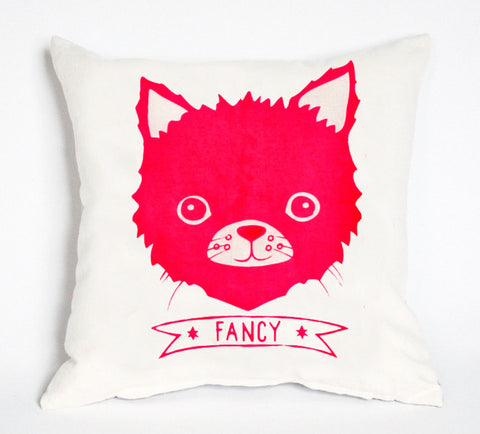 Fancy Cat - organic, hand printed, kitten, pillow 14x14