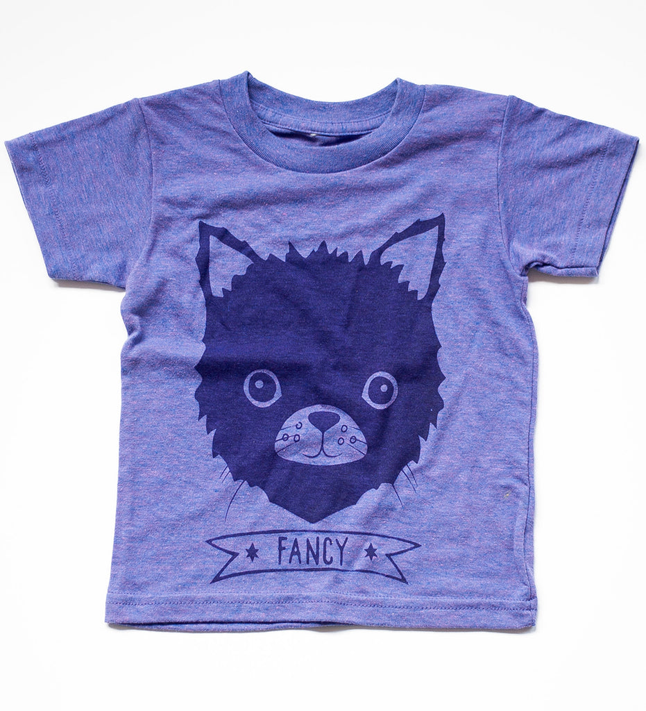 Fancy- hand printed, kitten t-shirt