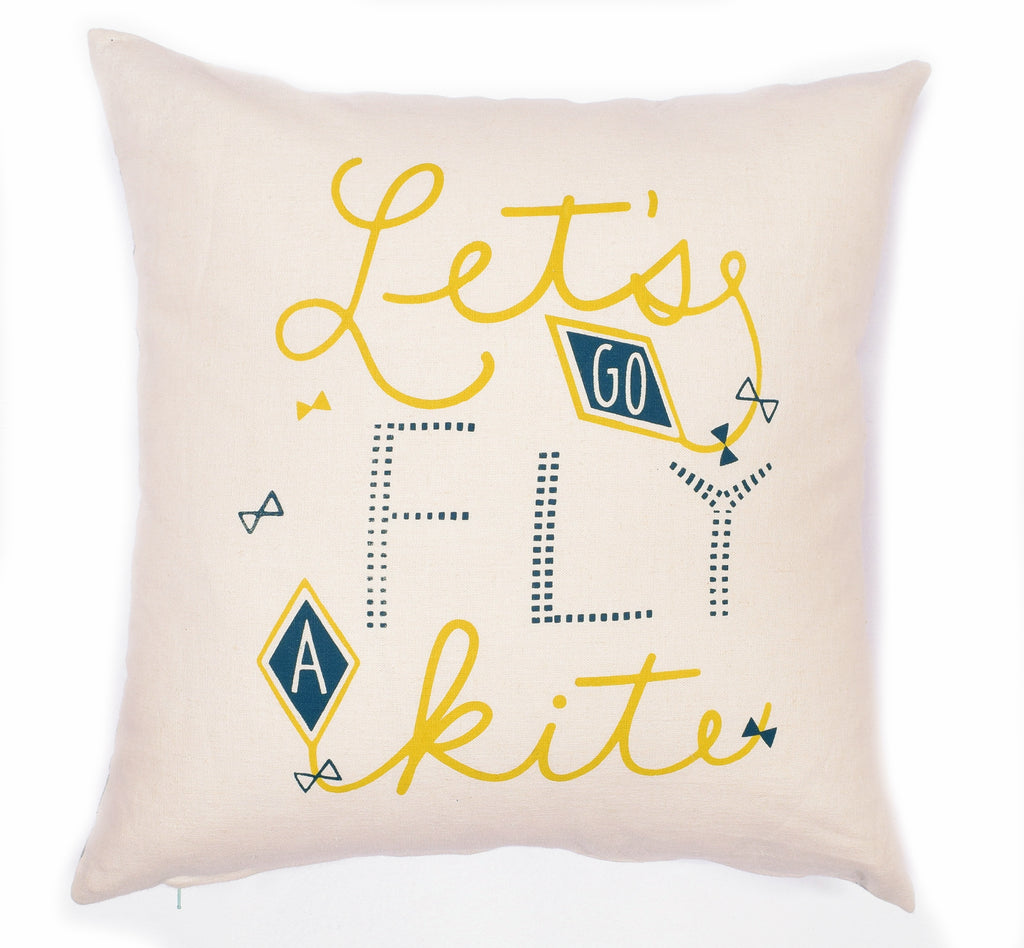 "Let's Go Fly a Kite - 18""x18"" pillow case - sale"