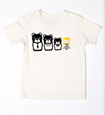 Goldie and the Bears - organic hand printed kid shirt