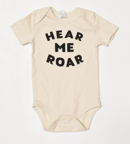 Hear Me Roar - handprinted, organic baby bodysuit
