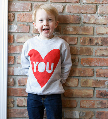 Heart You - kids love, valentines day sweatshirt