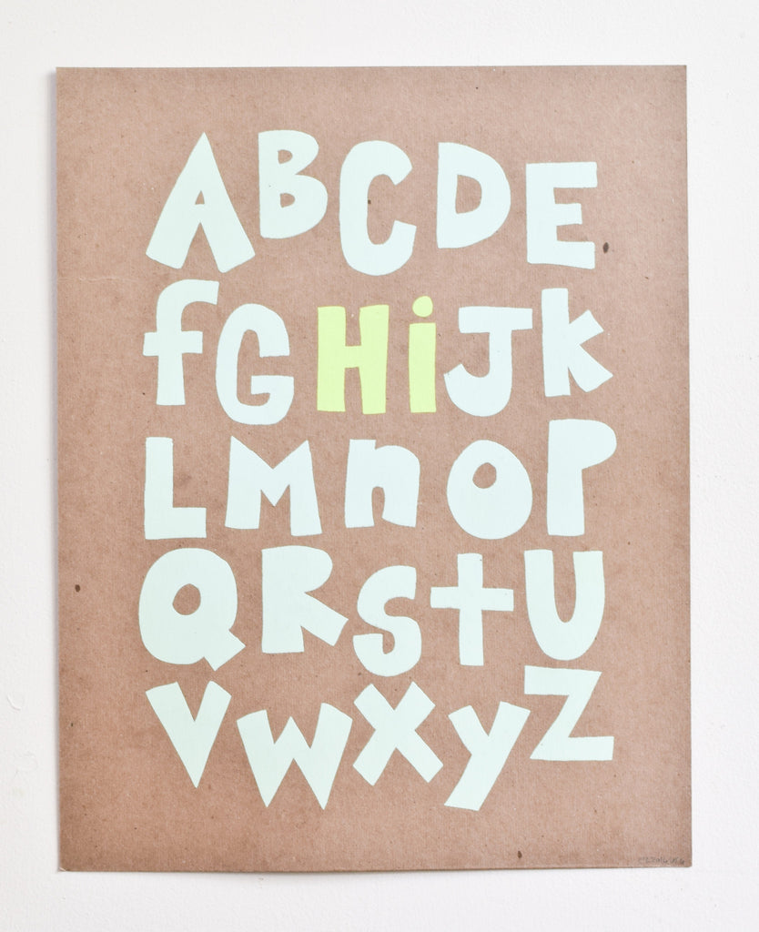 Copy of Hi From the Alphabet - screen print on recycled kraft, mint and neon yellow, 11x14