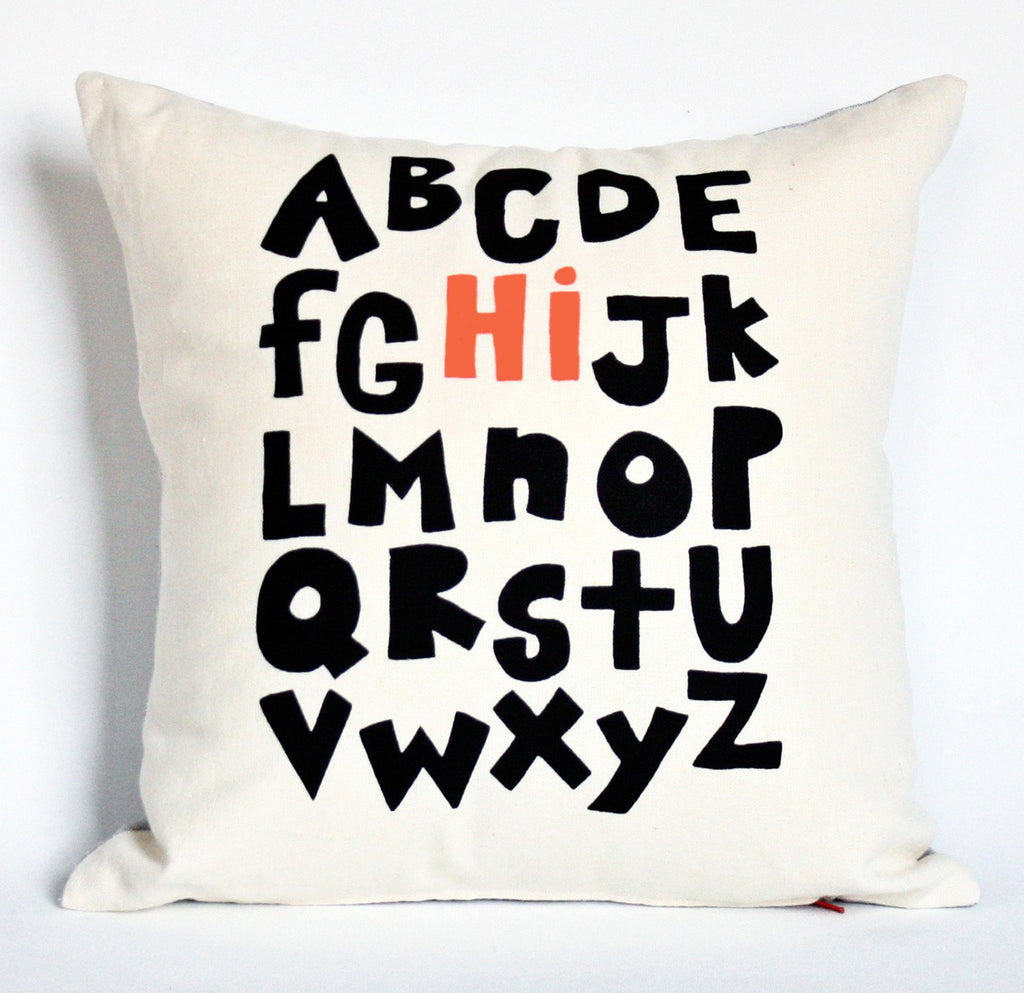 Alphabet Hi! - black and coral - pillow case