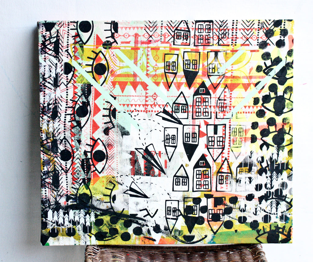 The Neighborhood in October -  stretched screen, one of a kind screen printed, drop cloth, wall art