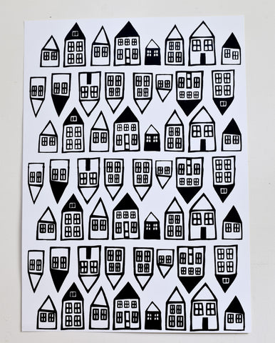 In the Neighborhood - black and white screen print, recycled paper, 18x24
