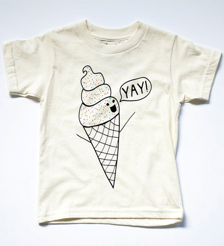 I Scream for Ice Cream - kids hand printed organic t-shirt