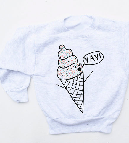 I Scream for Ice Cream - kids sweatshirt, heather grey