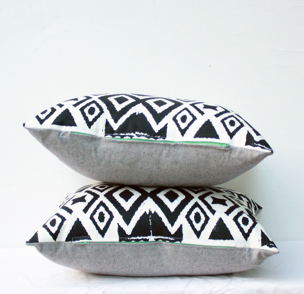 Diamonds in the Rough - ikat, hand printed pillow