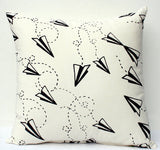 Flight Pattern - black paper plane screenprint, organic pillow - custom colors available