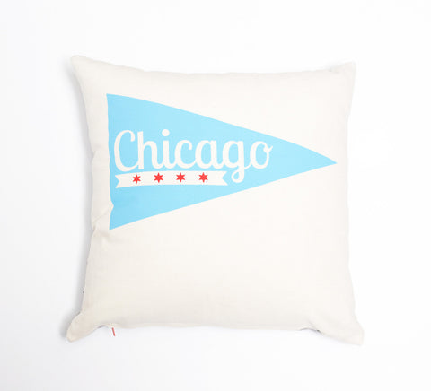 Chicago Pennant - organic hand screenprinted pillow